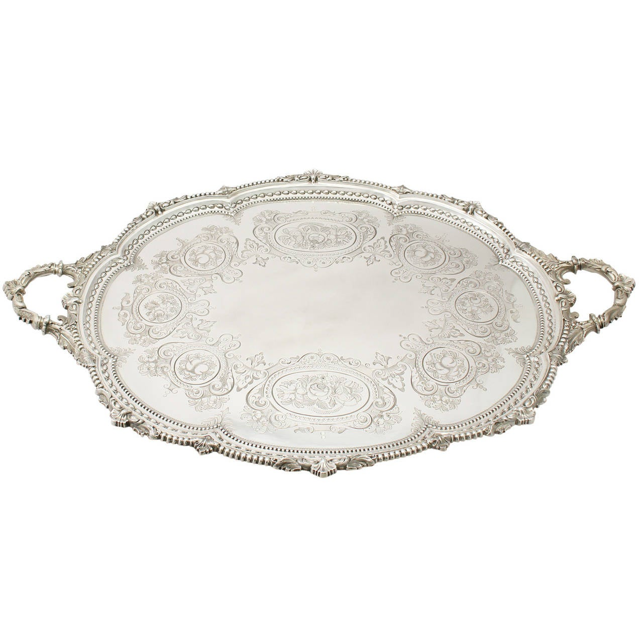1880s Antique Sterling Silver Tea Tray