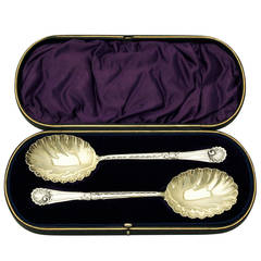 1898 Antique Victorian Pair of Sterling Silver Fruit Spoons