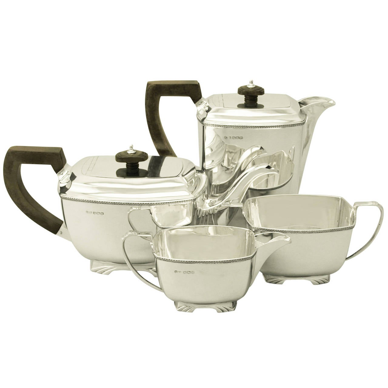 Vintage Sterling Silver Four-Piece Tea and Coffee Service, Art Deco Style