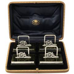 Set of Four Sterling Silver Menu Holders, Antique George V