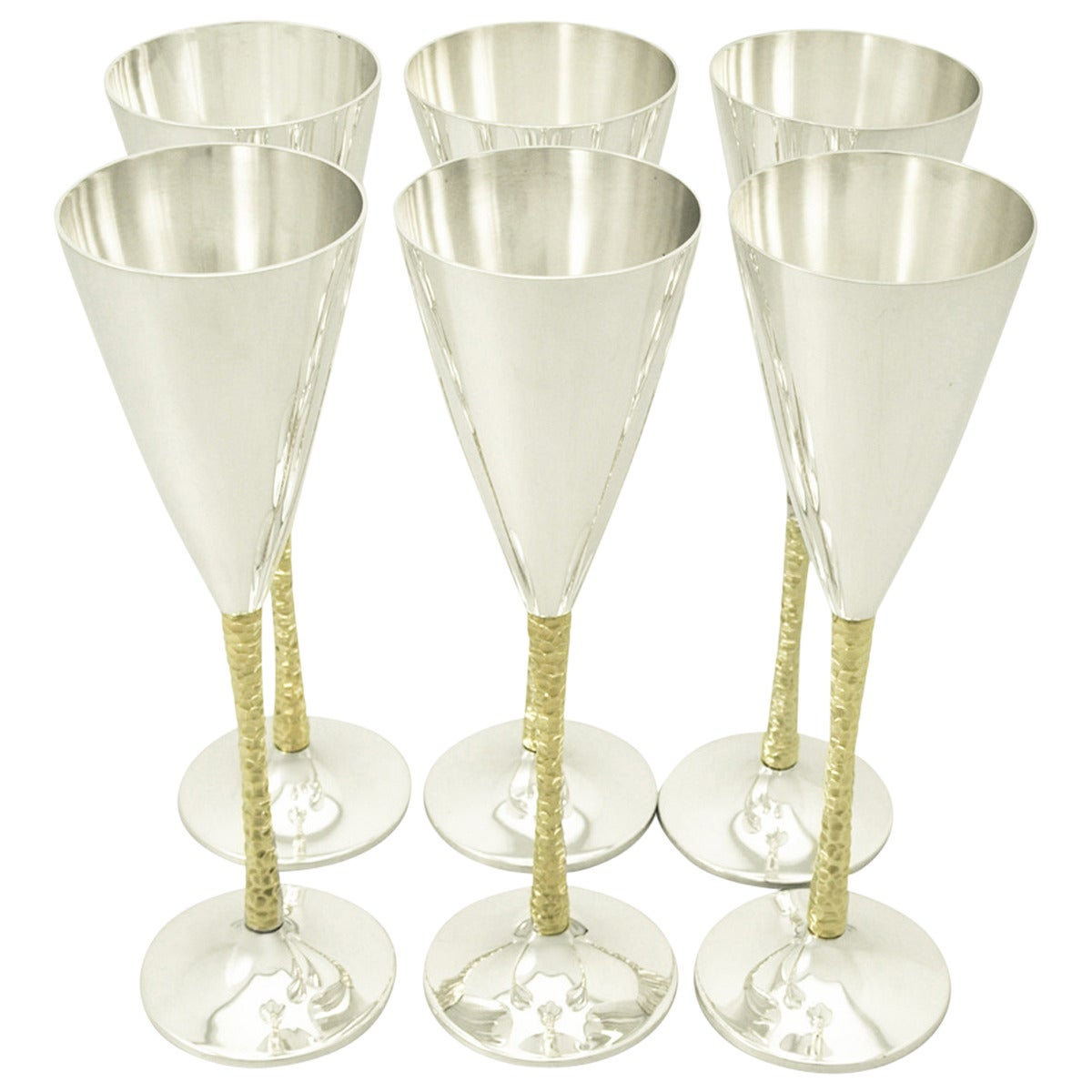 Sterling Silver Champagne Flutes Set of Six by Stuart Devlin