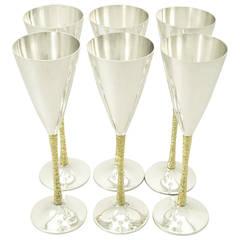 Sterling Silver Champagne Flutes Set of Six by Stuart Devlin