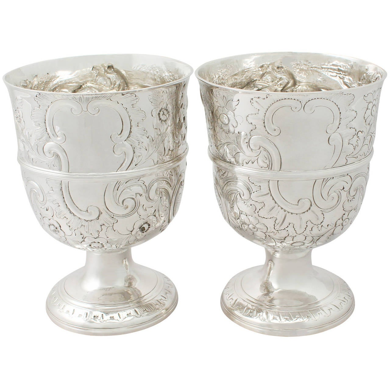 Pair of Composite Sterling Silver Presentation Cups - Antique