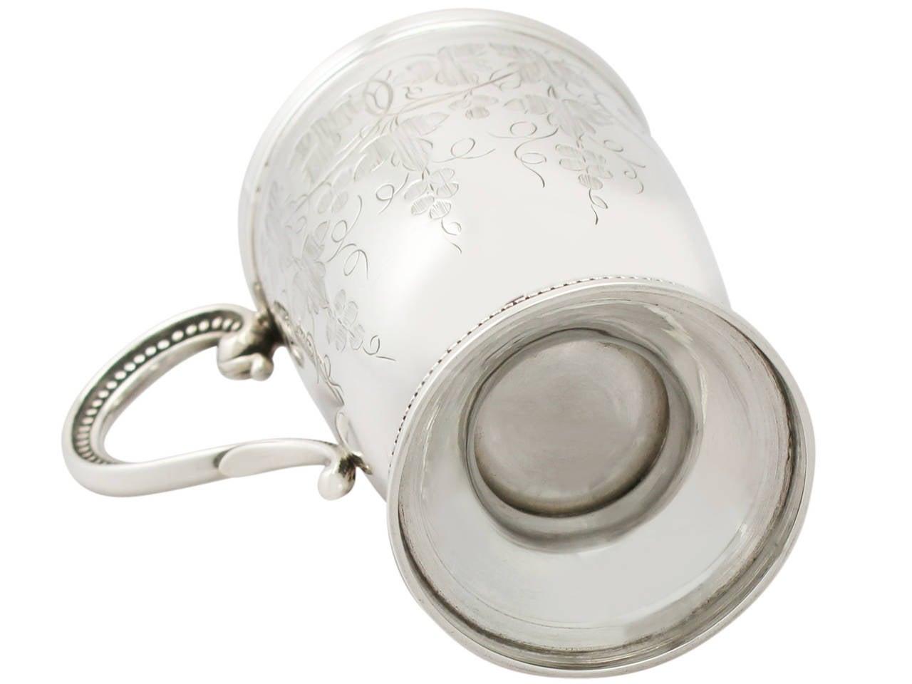 1867 Antique Sterling Silver Christening Mug For Sale 2
