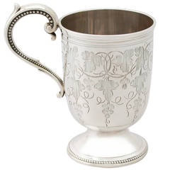1867 Antique Sterling Silver Christening Mug