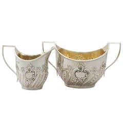 1890s Victorian Sterling Silver Cream Jug and Sugar Bowl