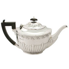 Antique Edwardian Sterling Silver Teapot, Queen Anne Style