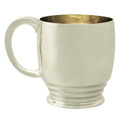 Art Deco Style Antique Edward VIII Sterling Silver Christening Mug
