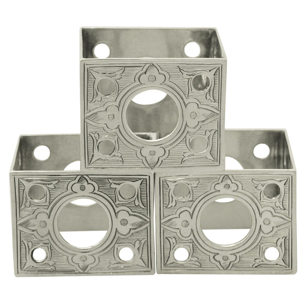Antique Victorian Sterling Silver Napkin Rings Set of Three