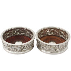 Pair of Electroplated and Sterling Silver Bottle Coasters - William IV Style