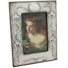 Sterling Silver Photograph Frame, Art Nouveau Style, Antique Edwardian