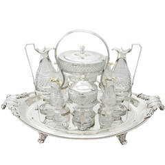 Paul Storr Sterling Silver and Cut Glass Cruet Service, 1802