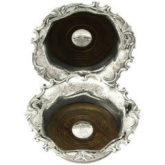 Pair of Sterling Silver Coasters, Antique Victorian