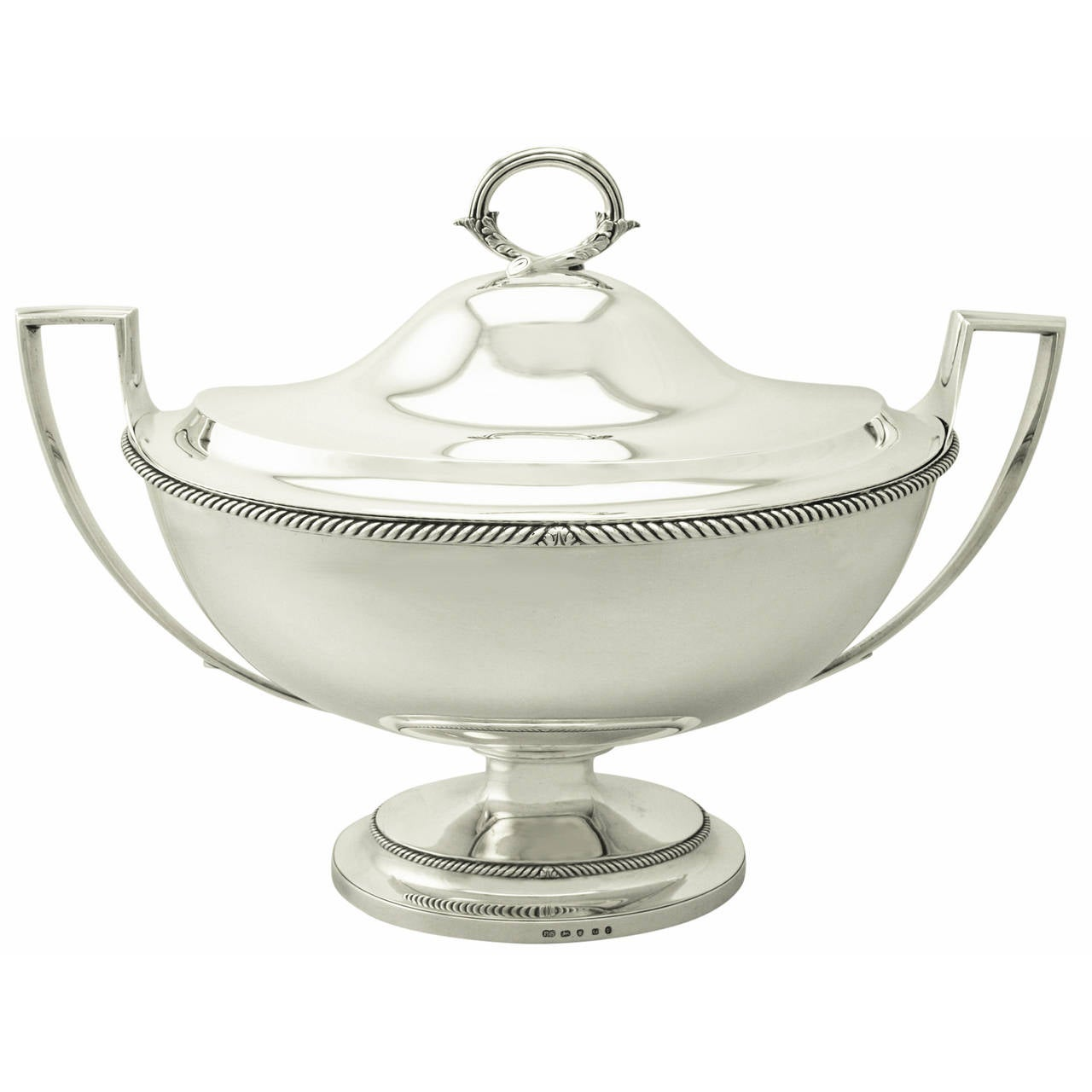 1800s Antique George III Adams Style Sterling Silver Soup Tureen by Paul Storr
