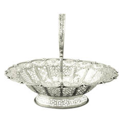 Sterling Silver Cake Basket - Antique Victorian