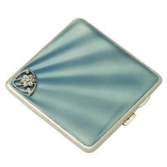 Sterling Silver, Enamel and Marcasite Cigarette Case - Antique George V