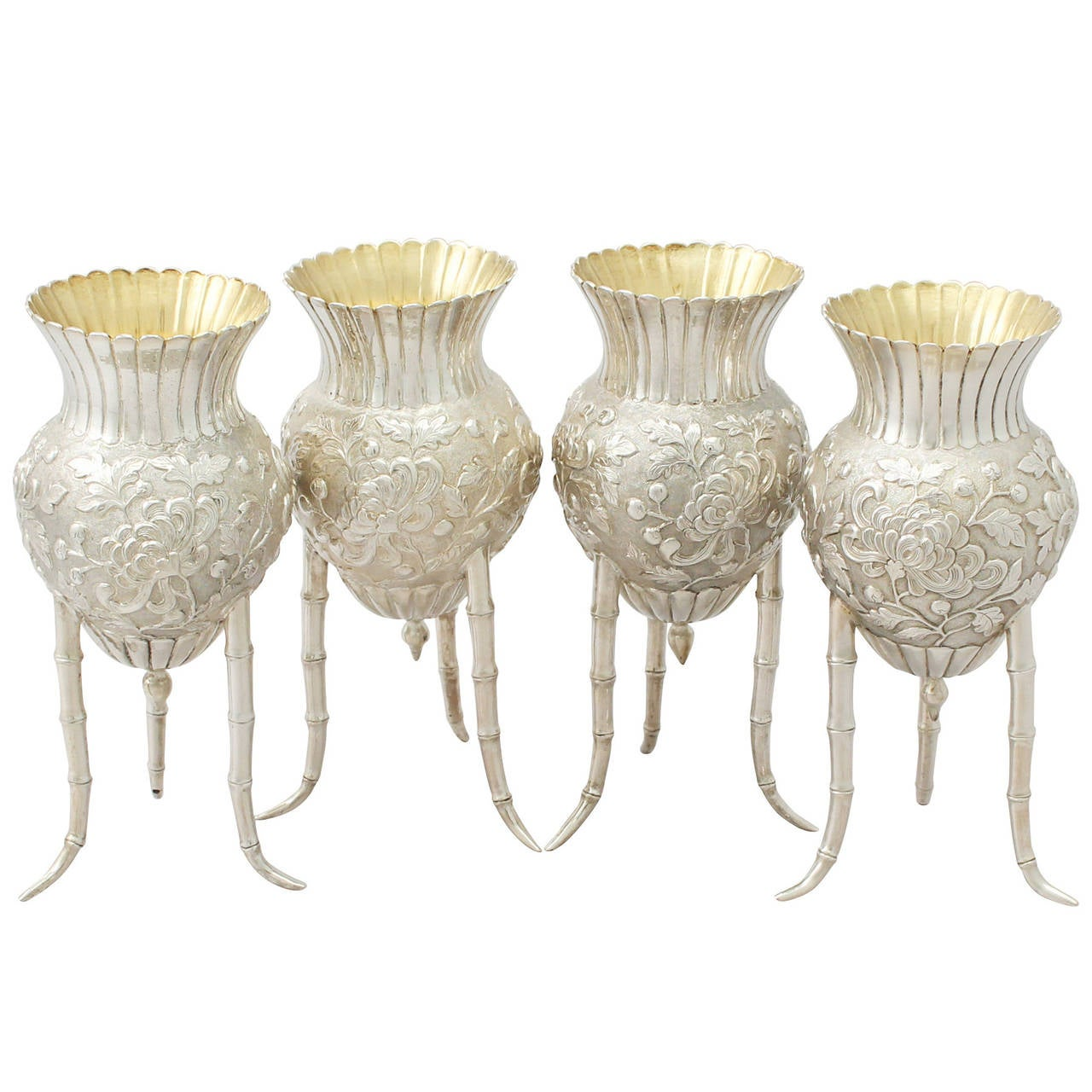 Set of Four Japanese Silver Vases, Antique, circa 1880