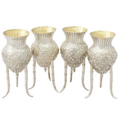 Set of Four Japanese Silver Vases, Antique, circa 1880