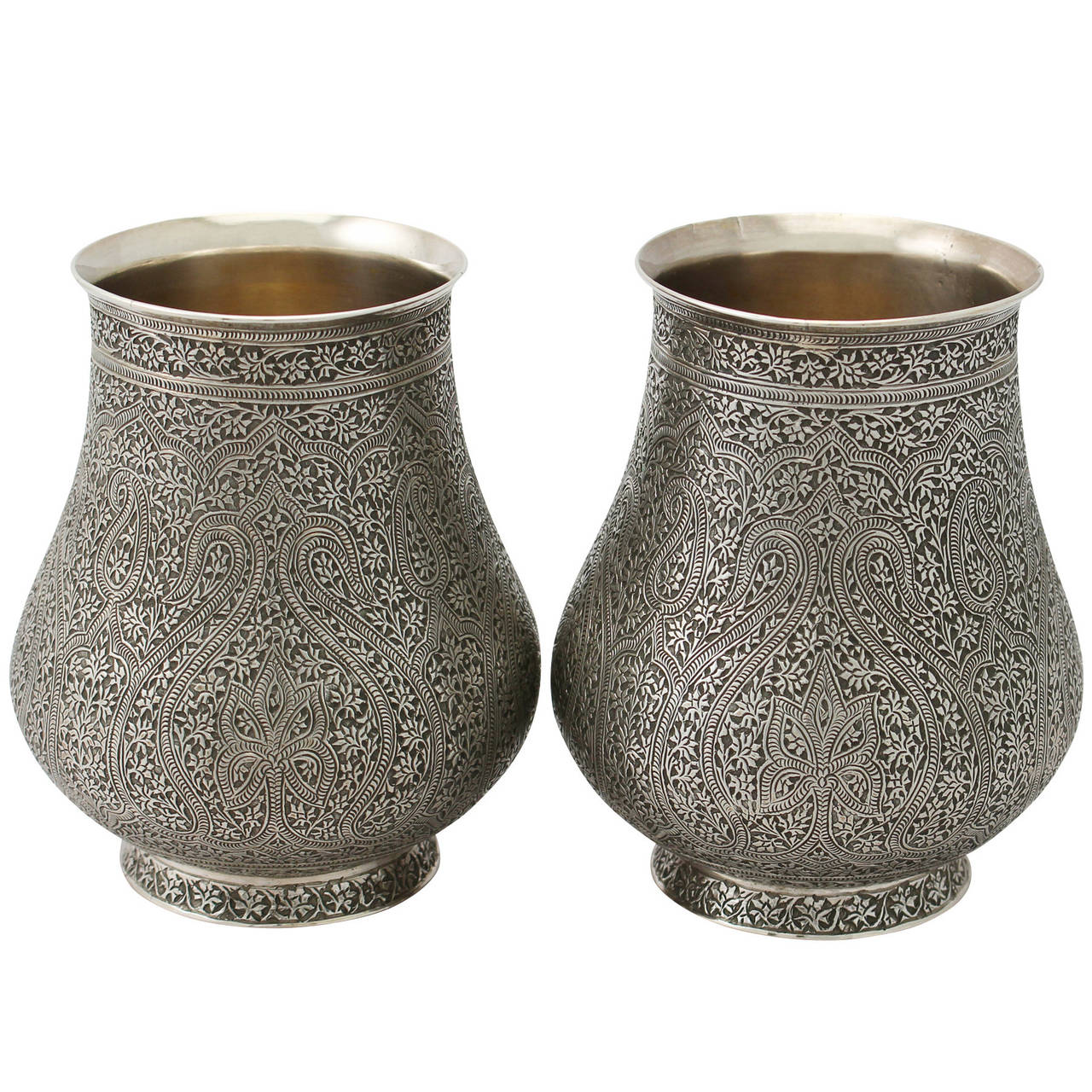 Silver Vases Pair Of Indian Sterling Silver Vases Antique Circa 1880 At 1Stdibs