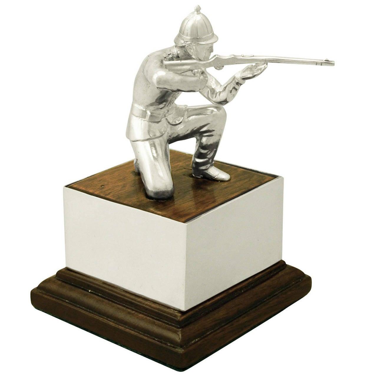 Sterling Silver 'Soldier' Presentation Trophy, Vintage Elizabeth II