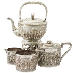 Antique Indian Sterling Silver Four-Piece Tea Service, circa 1880