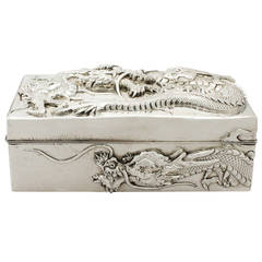 Chinese Export Silver Box, Antique, circa 1900
