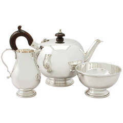 Sterling Silver Bachelor Three Piece Tea Service, George I Style, Vintage