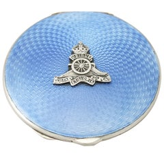 Sterling Silver and Enamel Compact, Antique George VI