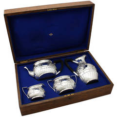 Sterling Silver Boxed Four-Piece Tea and Coffee Service, Antique Victorian