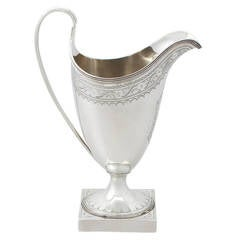 Sterling Silver Cream Jug / Creamer by Peter and Ann Bateman, Antique George III