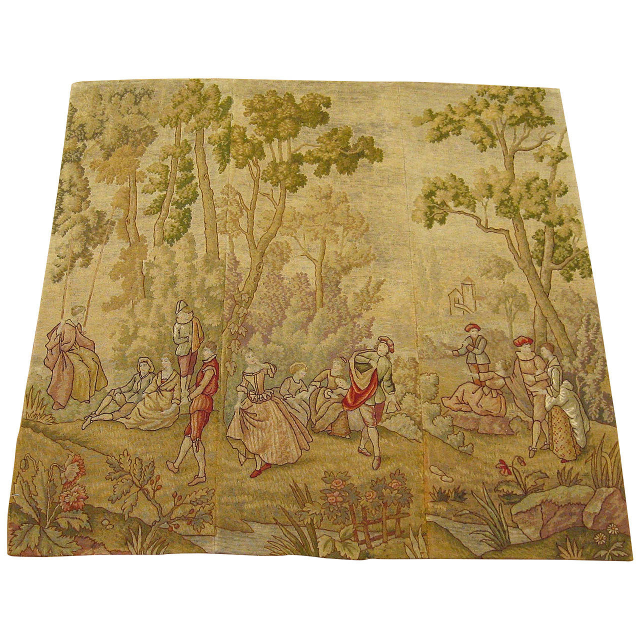 Antique European Needlepoint Tapestry Panels with Courtiers Reveling, circa 1900