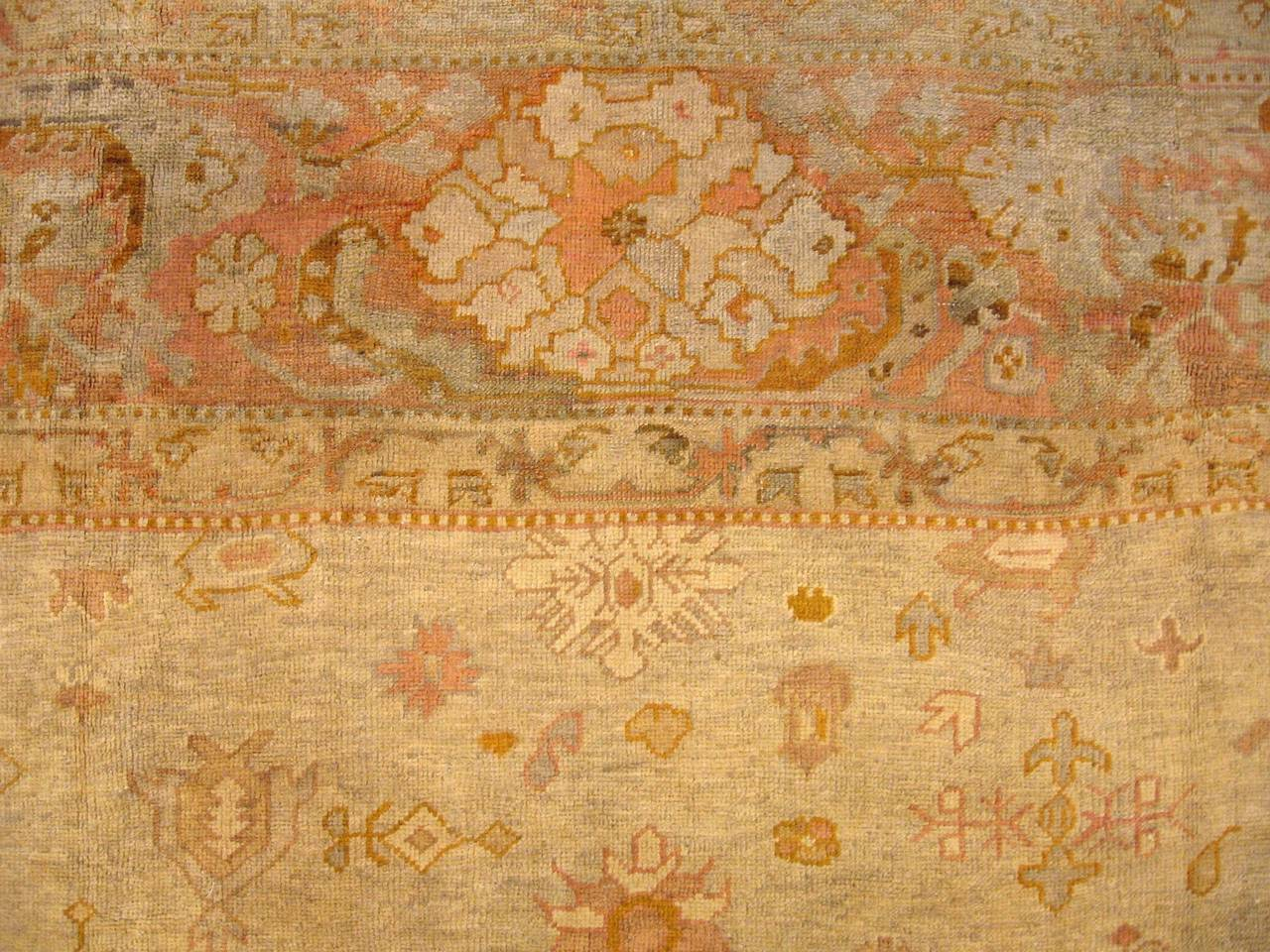 Early 20th Century Antique Turkish Oushak Oriental Carpet, Large Size, Soft Colors & Allover Design For Sale