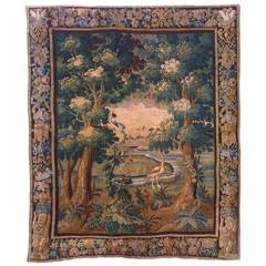 Antique 17th Century Flemish Verdure Landscape Tapestry, with a Bird by a Stream