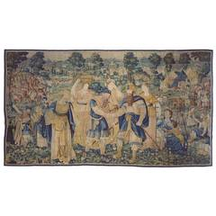 Antique 17th Century Flemish Game Park Biblical Tapestry with Jacob & Esau