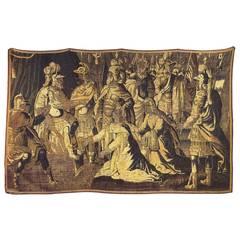 Antique 17th Century Flemish Historical Tapestry w/ the Roman General Coriolanus