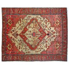 Antique Persian Serapi Oriental Carpet, in Room Size, with Medallion