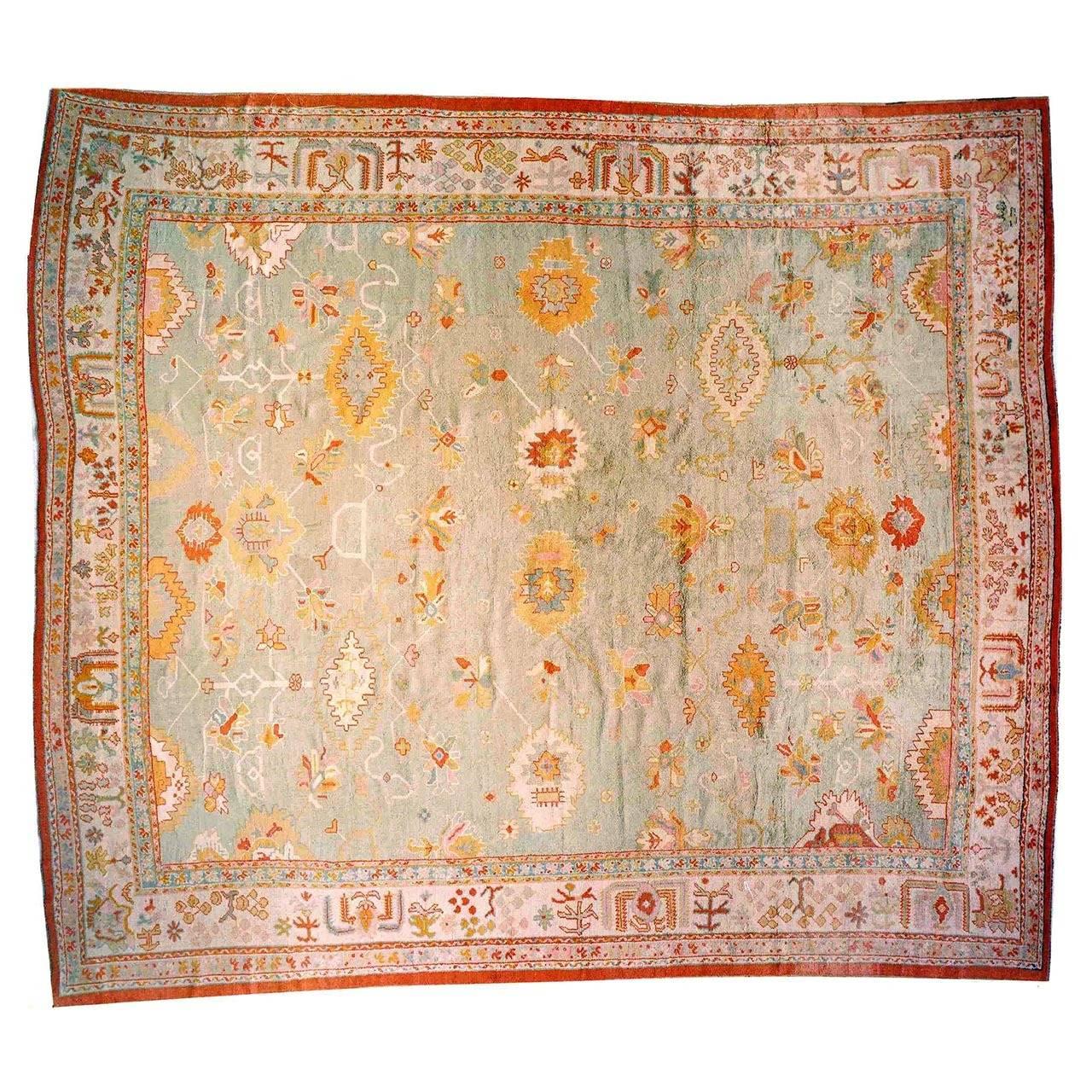 Antique Vintage Turkish Rugs: Antique Turkish Oushak Decorative Carpet, With Soft Colors