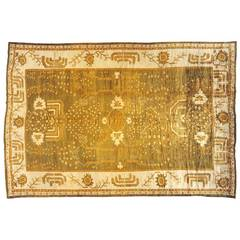 Large Antique Turkish Oushak Carpet with Cypress Trees, in Green and Ivory