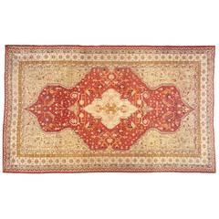 Antique Turkish Oushak Oriental Carpet, Oversize, with Medallion & Corner Design