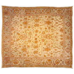 Antique Turkish Oushak Oriental Rug with Allover Design and Soft Colors