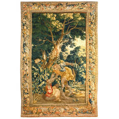 Antique Late 17th Century Flemish Old Testament Biblical Cain and Able Tapestry