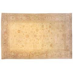 Antique Turkish Oushak Oriental Carpet, Soft Colors and Allover Design