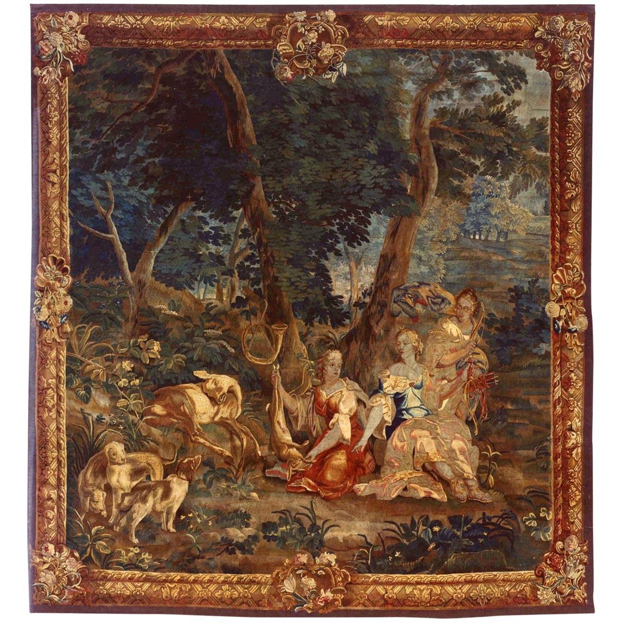 Antique 18th Century Brussels Mythological Tapestry with