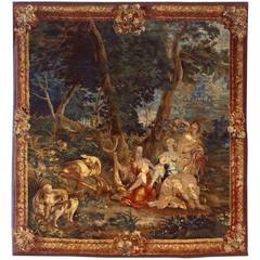 Antique 18th Century Brussels Mythological Tapestry with Diana the Huntress