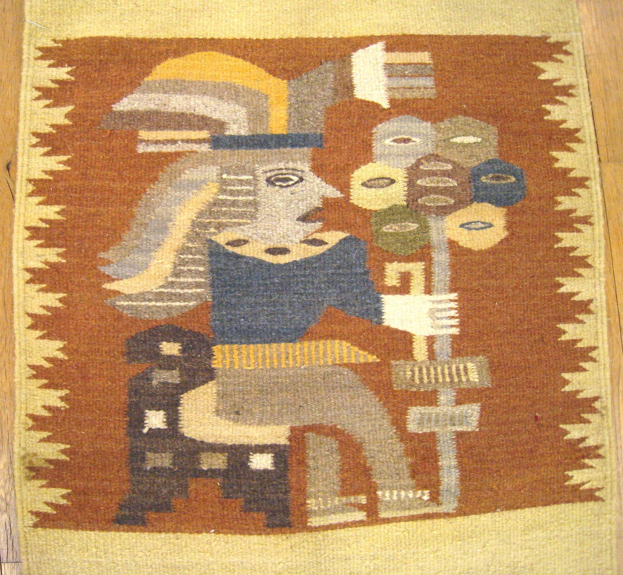 Oaxaca Rug. Vintage Mexican Zapotec Pictorial Rug At