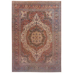 Antique Persian Tabriz Animal Carpet In Large Size With