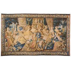 Antique 17th Century Flemish Historical Tapestry, Featuring Antony and Cleopatra