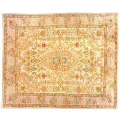 Antique Turkish Oushak Decorative Oriental Carpet, Large Size, with Ivory Field