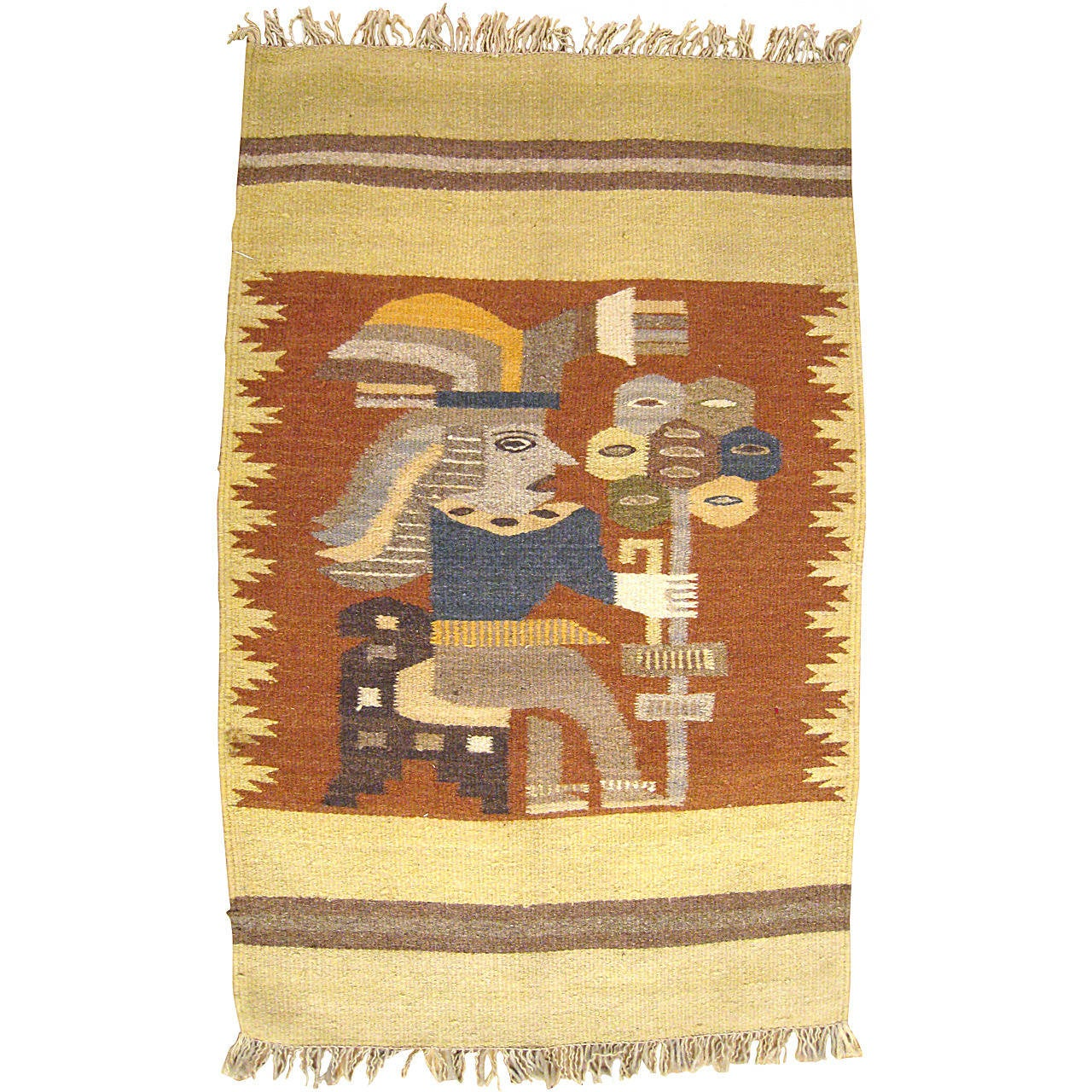 Mexican Rug Images: Vintage Mexican Zapotec Pictorial Rug