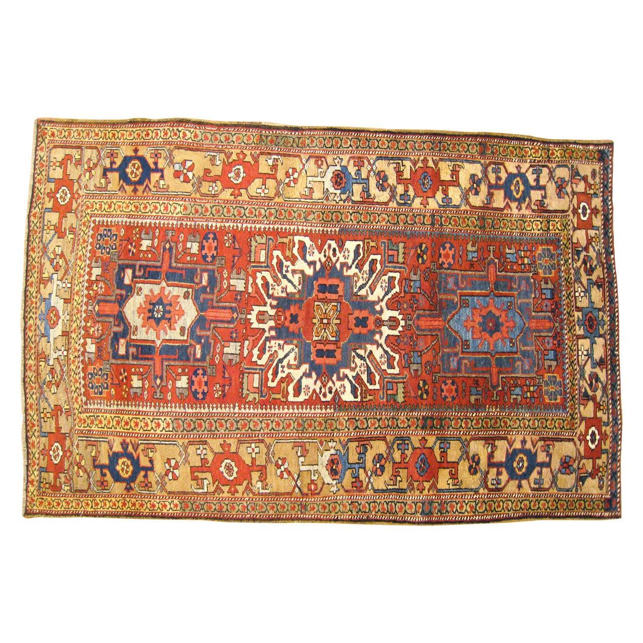 Antique Persian Heriz Karaja Oriental Rug, Small Size